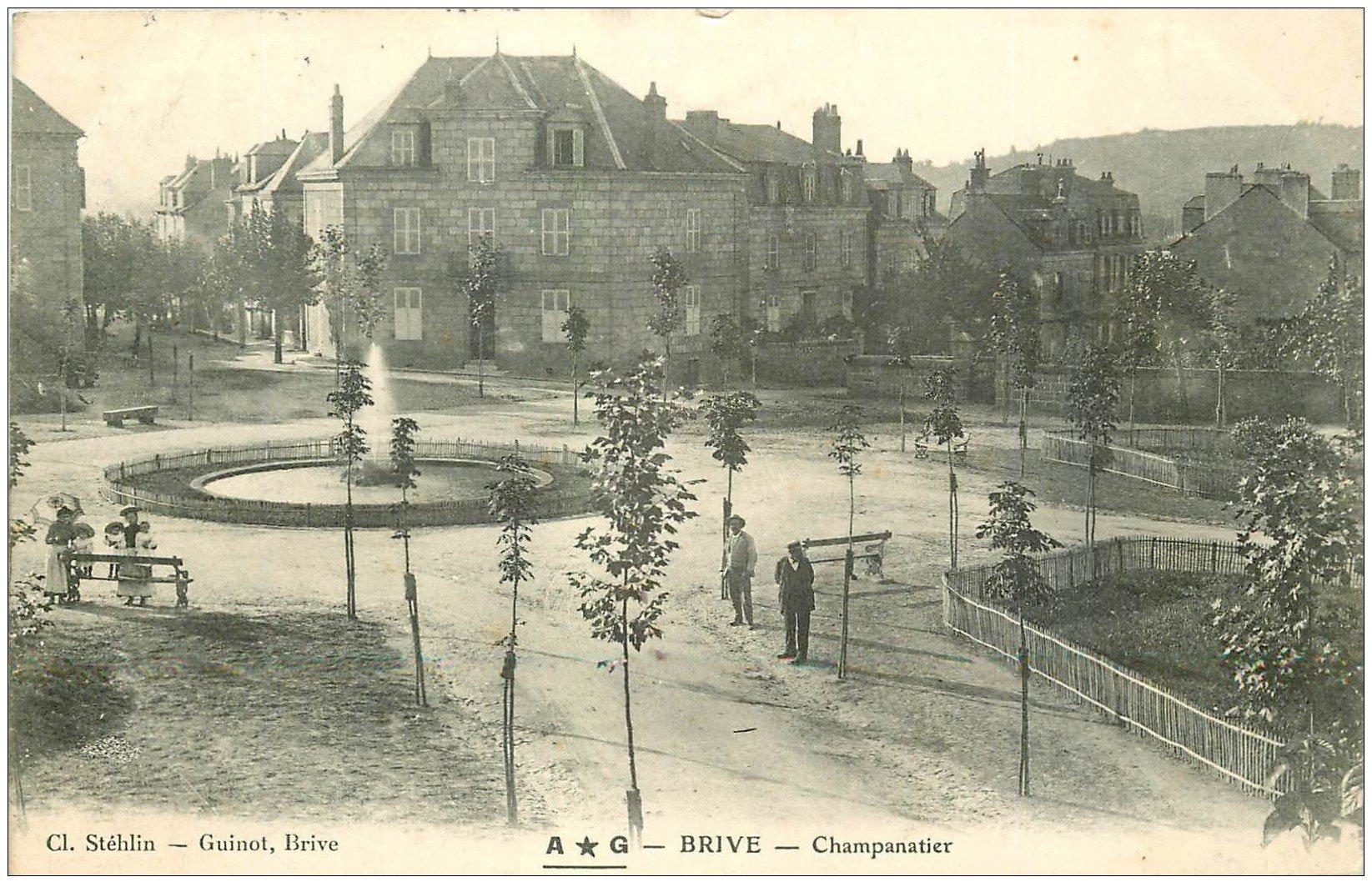 carte postale ancienne 19 BRIVE. Champanatier 1906. Nurses dans le Square et Fontaine