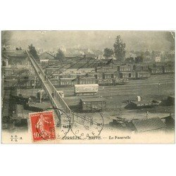 carte postale ancienne 19 BRIVE. La Passerelle 1908. Train et vagons