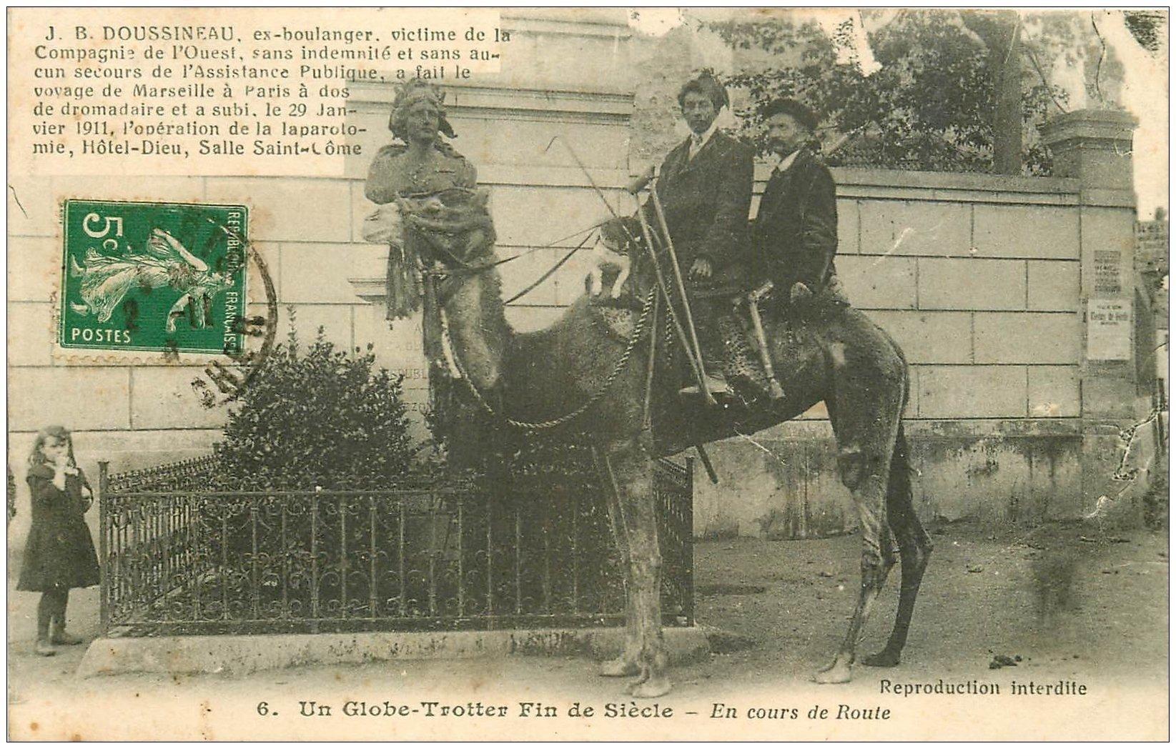 carte postale ancienne 03 Doussineau Globe-Trotter à dos de Dromadaire 1913 de Marseille à Paris