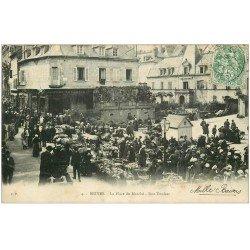 carte postale ancienne 19 BRIVE. Place du Marché Rue Toulzac 1907