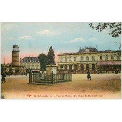 carte postale ancienne 19 BRIVE. Place du Théâtre et Statue Maréchal Brune 1933