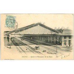 carte postale ancienne 19 BRIVE. Quais et Marquise de la Gare 1905