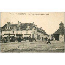19 LE LUBERZAC. La Place et l'Avenue de la Gare 1925. Café Laporte et Dupuy. Hôtel des Voyageurs et Epicerie