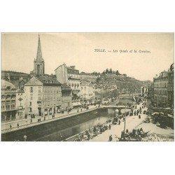 carte postale ancienne 19 TULLE. Les Quais et la Corrèze. Théâtre Municipal