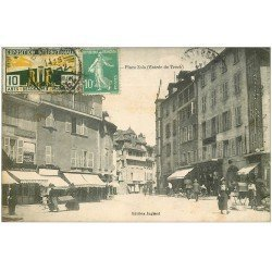 carte postale ancienne 19 TULLE. Place Zola 1925. Bijouterie Fix