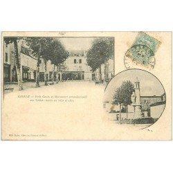 carte postale ancienne 03 GANNAT. Petit Cours et Monument Soldats morts en 1870. 1906 Edition Malot librairie