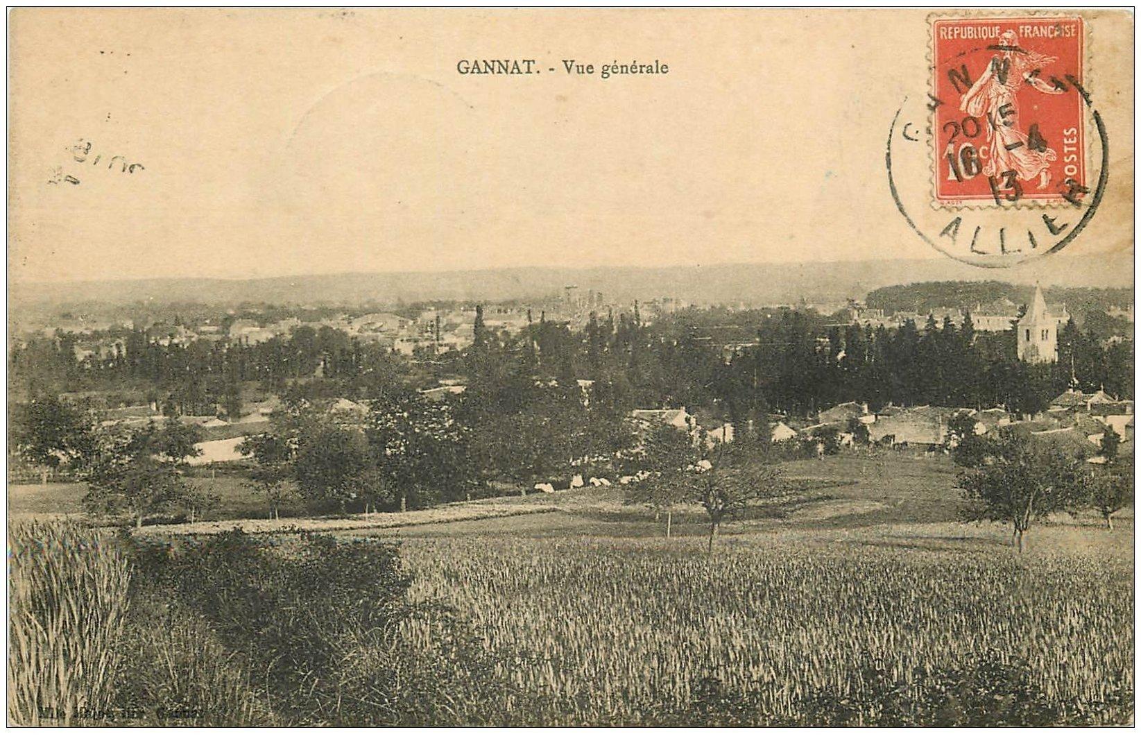 carte postale ancienne 03 GANNAT. Vue générale 1913