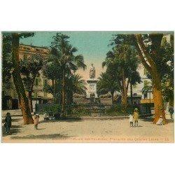 carte postale ancienne 20 AJACCIO. Place des Palmiers Fontaine des Quatre Lions 1928