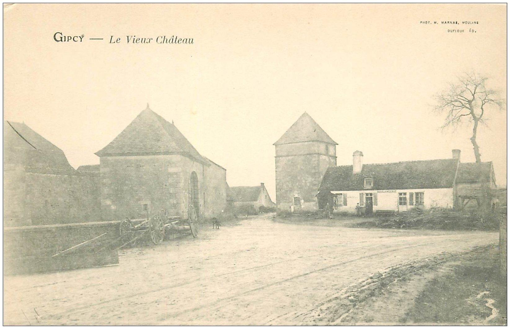 carte postale ancienne 03 GIPCY. Le Vieux Château