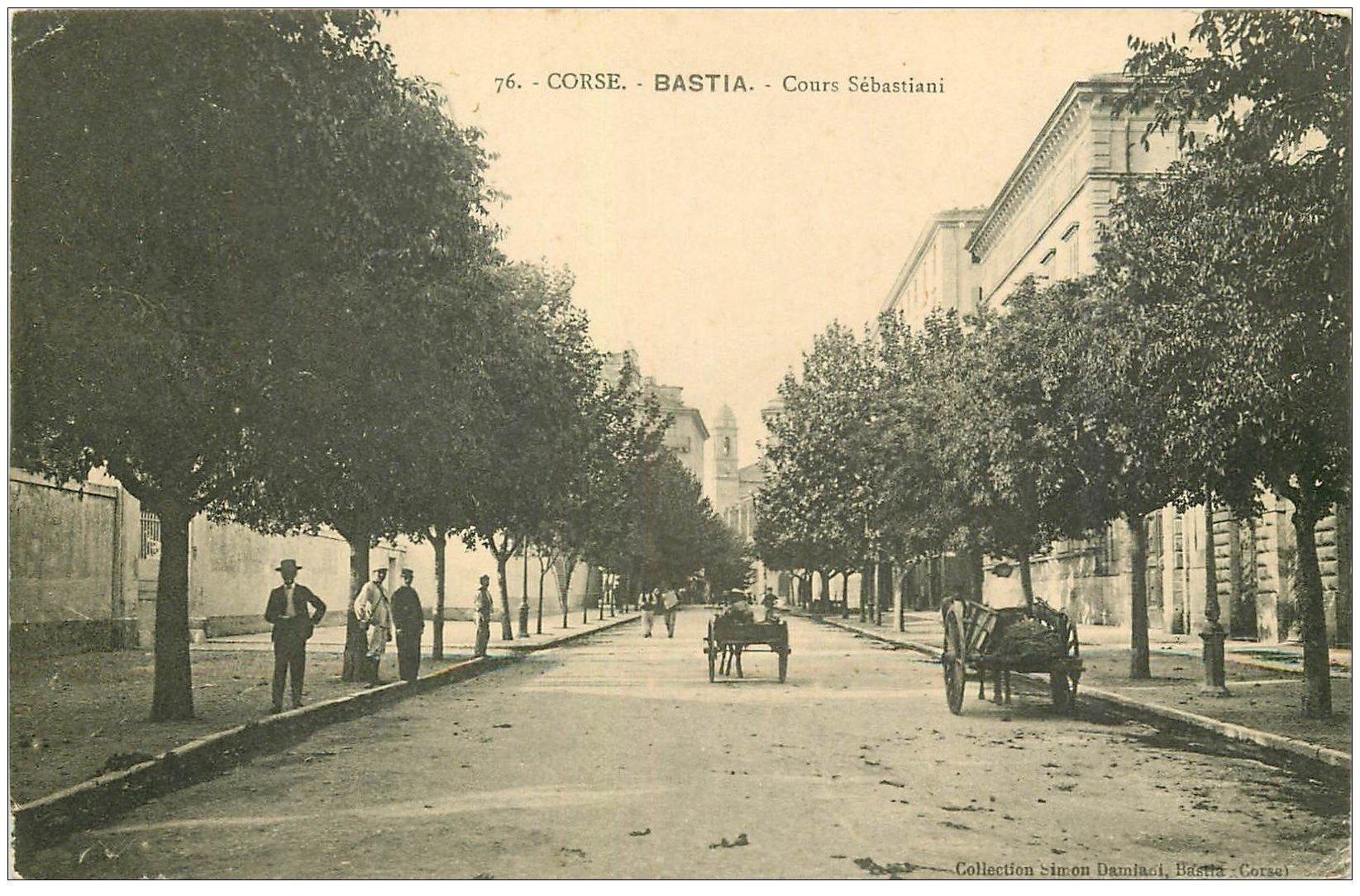 carte postale ancienne 20 BASTIA. Cours Sébastiani 1915