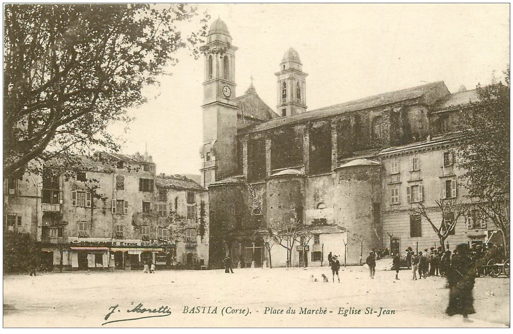 carte postale ancienne 20 BASTIA. Place du Marché Eglise Saint-Jean