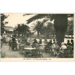 carte postale ancienne 20 BASTIA. Place Saint-Nicola terrasse d'une Brasserie bien animée