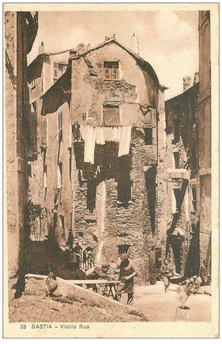 carte postale ancienne 20 BASTIA. Vieille Rue avec Menuisiers