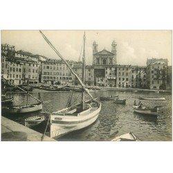 carte postale ancienne 20 BASTIA. Vieille Ville, Port et Cathédrale. Carte Photo de luxe LL n°82