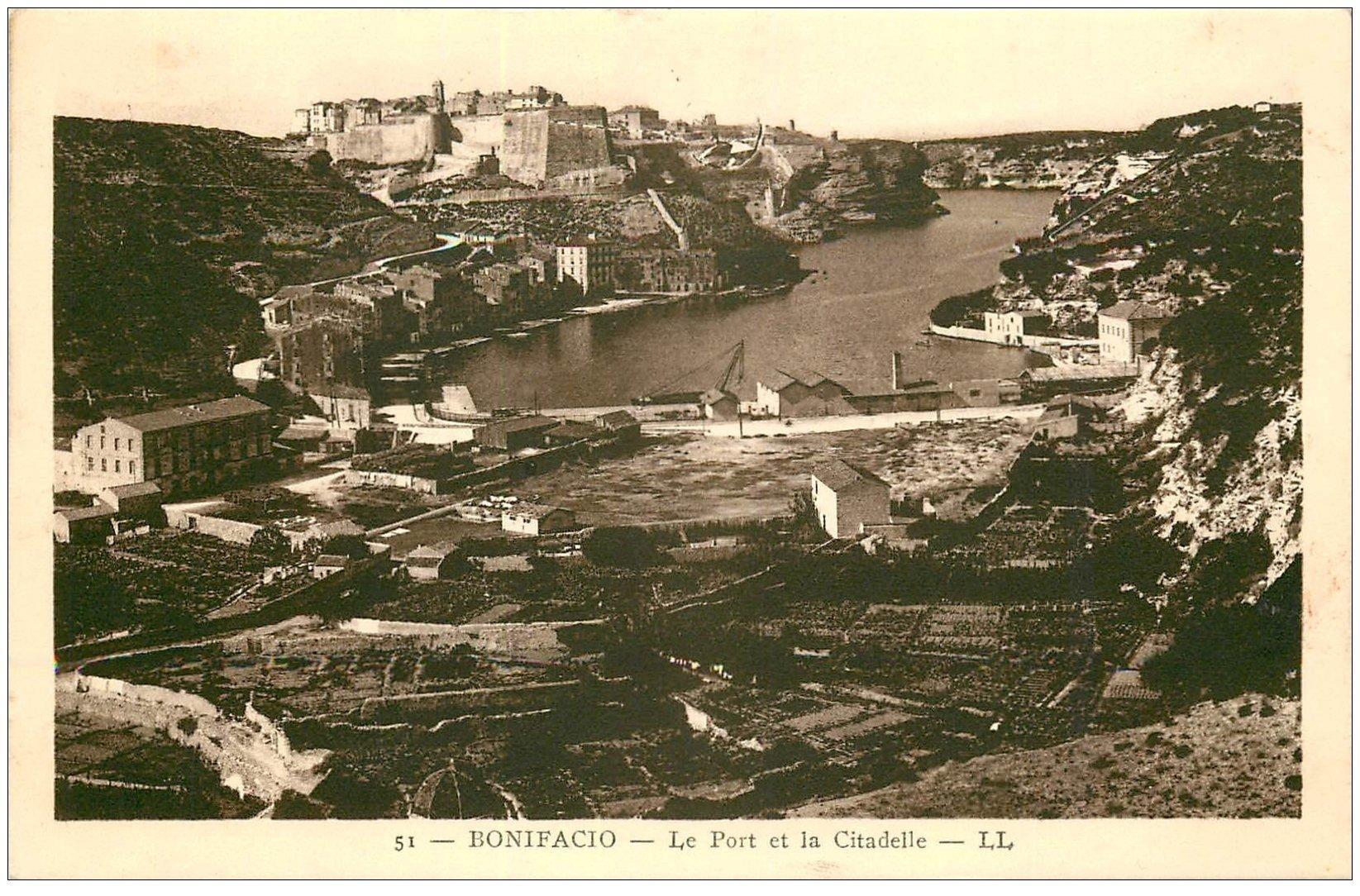 carte postale ancienne 20 CORSE. Bonifacio. Port et Citadelle