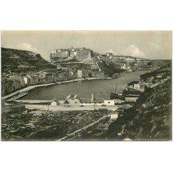 carte postale ancienne 20 CORSE. Bonifacio. Port et Ville. Carte de Luxe LL.