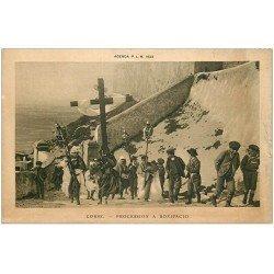 carte postale ancienne 20 CORSE. Bonifacio. Une Procession. Agenda P.L.M de 1923
