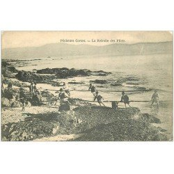 carte postale ancienne 20 CORSE. Vers Bastia. La Retraite des Filets de Pêche