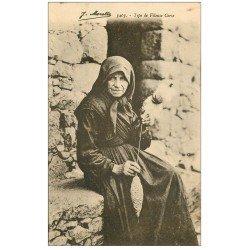 carte postale ancienne 20 CORSE. Vers Bastia. Type de Fileuse Corse