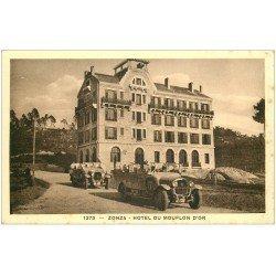carte postale ancienne 20 ZONZA. Hôtel du Mouflon d'Or. Belles Voitures Cars