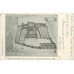 carte postale ancienne 21 ABBAYE SAINT-PIERRE DE FLAVIGNY 1912 d'après les plans de 1690