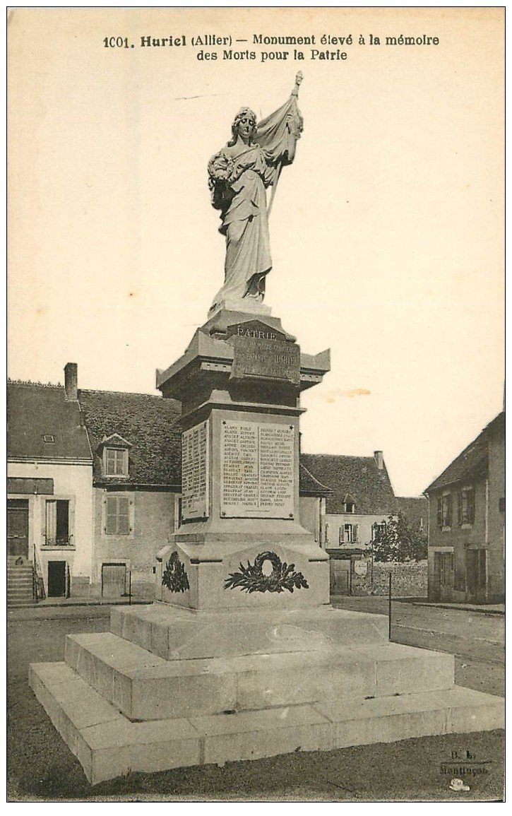 carte postale ancienne 03 HURIEL. Monument Morts pour la Patrie