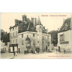 carte postale ancienne 21 BEAUNE. Maison du Colombier. Librairie Papeterie et Restaurant Lavesvre