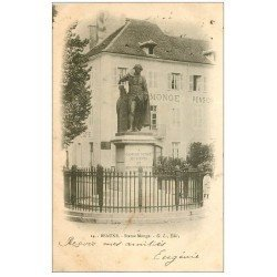 carte postale ancienne 21 BEAUNE. Statue Gaspard Monge 1903 et Pension Monge