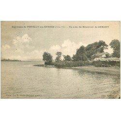carte postale ancienne 21 CERCEY. Un coin du Réservoir 1926 avec pêcheurs à la ligne