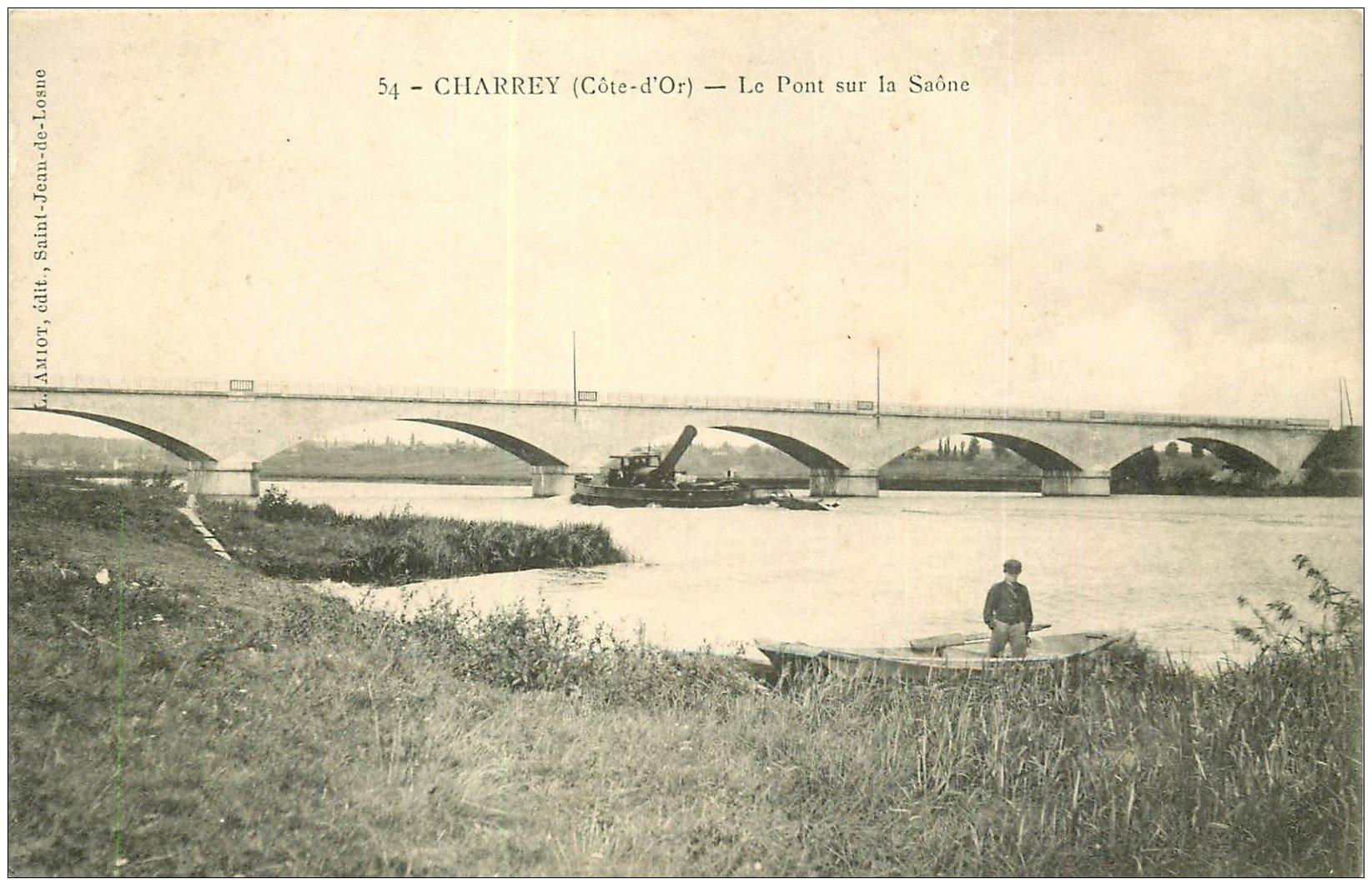 carte postale ancienne 21 CHARREY. Le Pont sur la Saône
