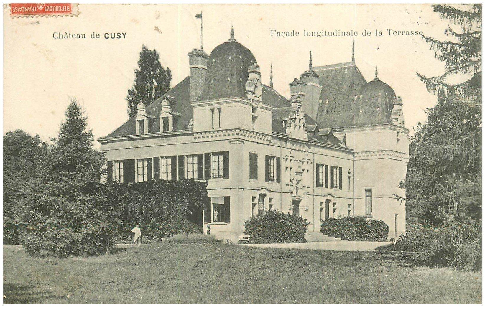 carte postale ancienne 21 CHATEAU DE CUSY 1908 ave Jardinier