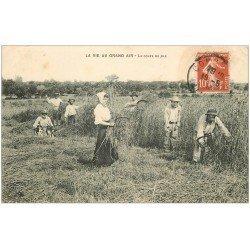 carte postale ancienne 03 La coupe du blé à la main 1913. Paysans et métiers de la Campagne