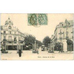 carte postale ancienne 21 DIJON. Avenue de la Gare 1907