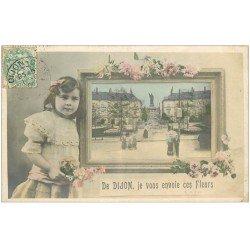 carte postale ancienne 21 DIJON. Carte fantaisie Fillette et tableau 1909