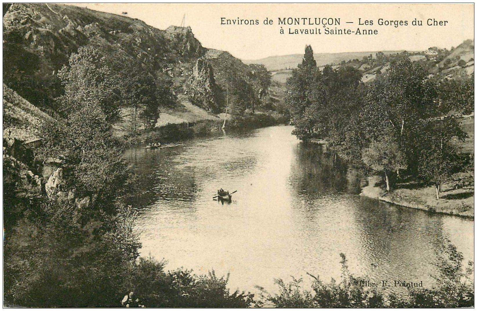 carte postale ancienne 03 LAVAULT-SAINTE-ANNE. Les Gorges du Cher