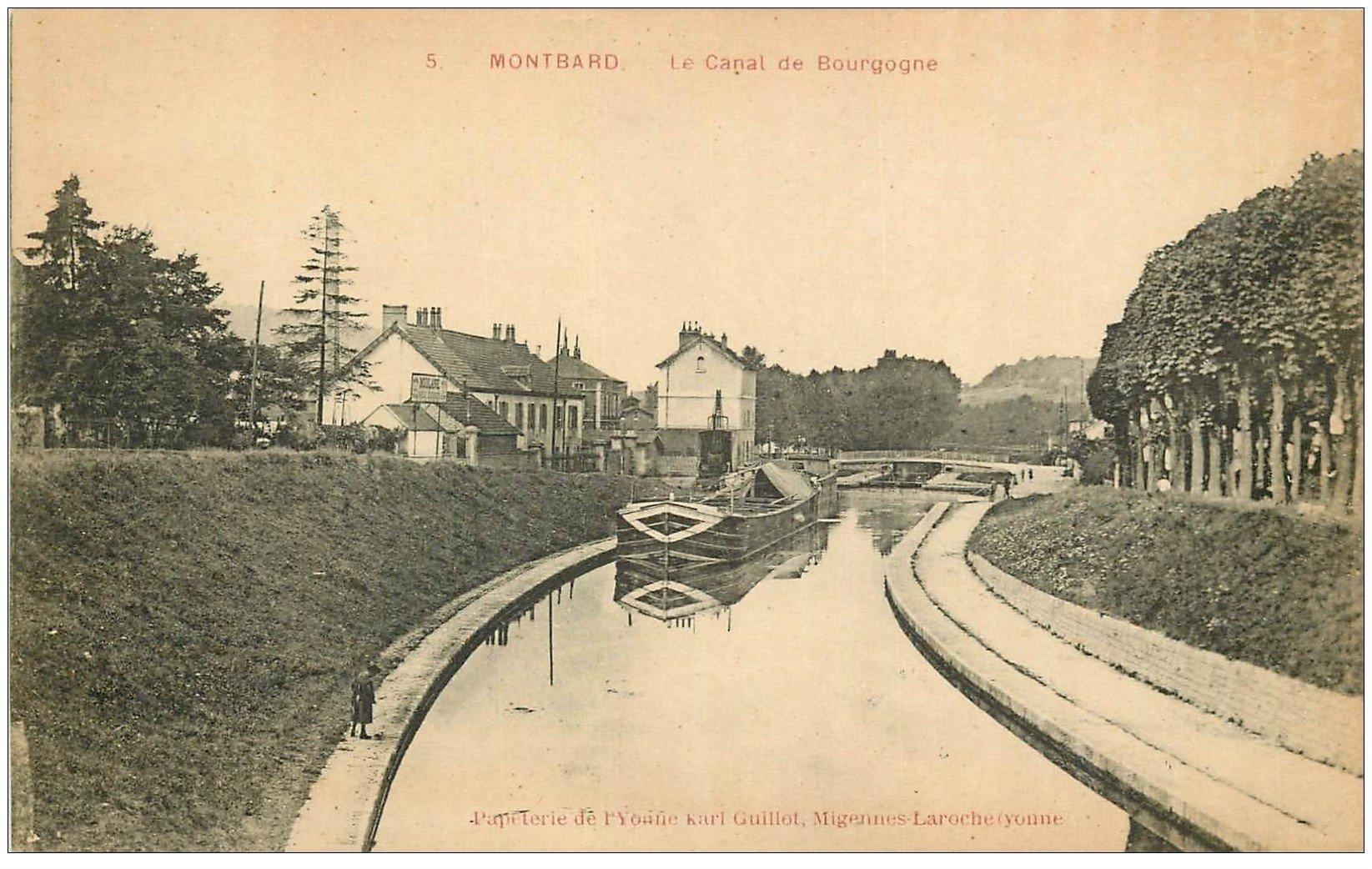 Canal De Bourgogne Carte.21 Montbard Peniche Et Ecluse Sur Le Canal De Bourgogne