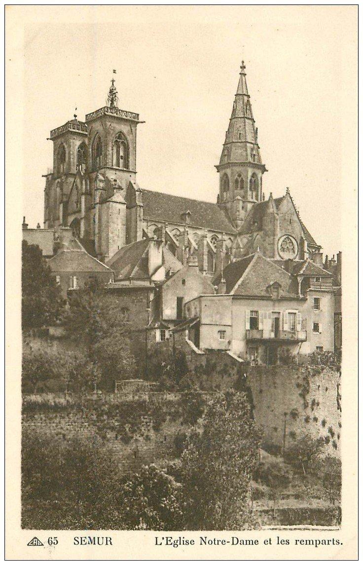 carte postale ancienne 21 SEMUR. Eglise Notre-Dame et Remparts