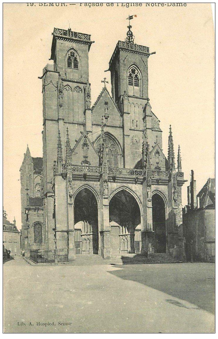 carte postale ancienne 21 SEMUR. Façade Eglise Notre-Dame