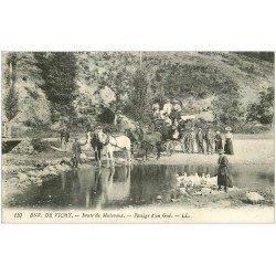 carte postale ancienne 03 MALAVAUX. Passage d'un Gué sur la Route 1917 attelage