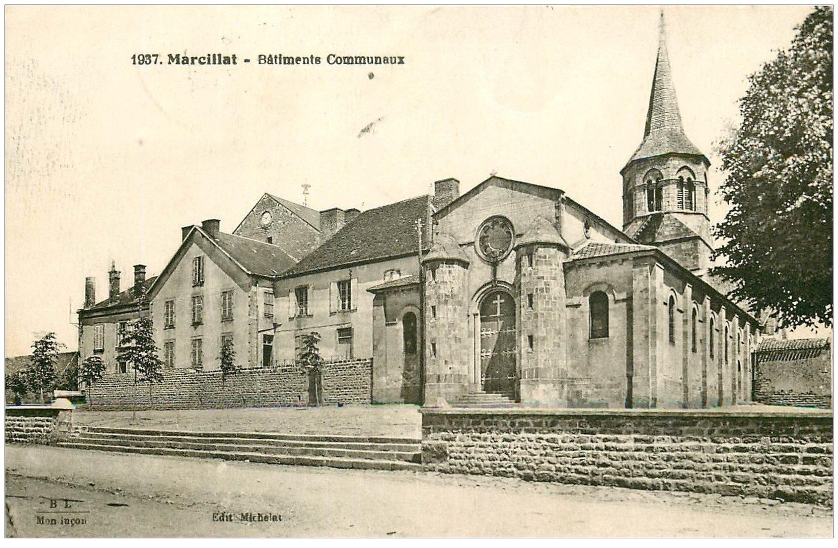 carte postale ancienne 03 MARCILLAT. Bâtiments Communaux 1936