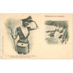 carte postale ancienne 22 Carte Pionnière vierge vers 1900. Pêcheuse de Crabes. Métiers de la Mer